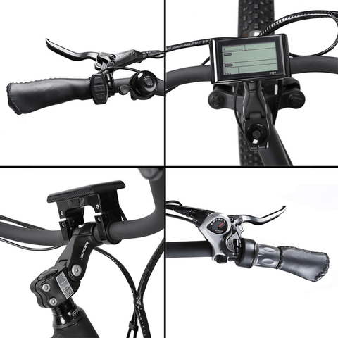 Image of ECOTRIC Hammer Fat Tire Electric Bike display, brakes and handle bars