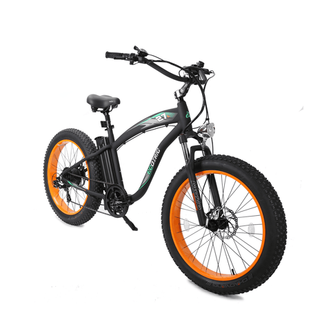 Image of ECOTRIC Hammer Fat Tire Electric Bike orange front angle view