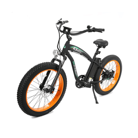 Image of ECOTRIC Hammer Fat Tire Electric Bike. orange side angle view