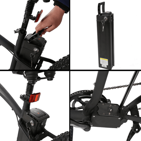 Image of ECOTRIC Hammer Fat Tire Electric Bike battery placement close up