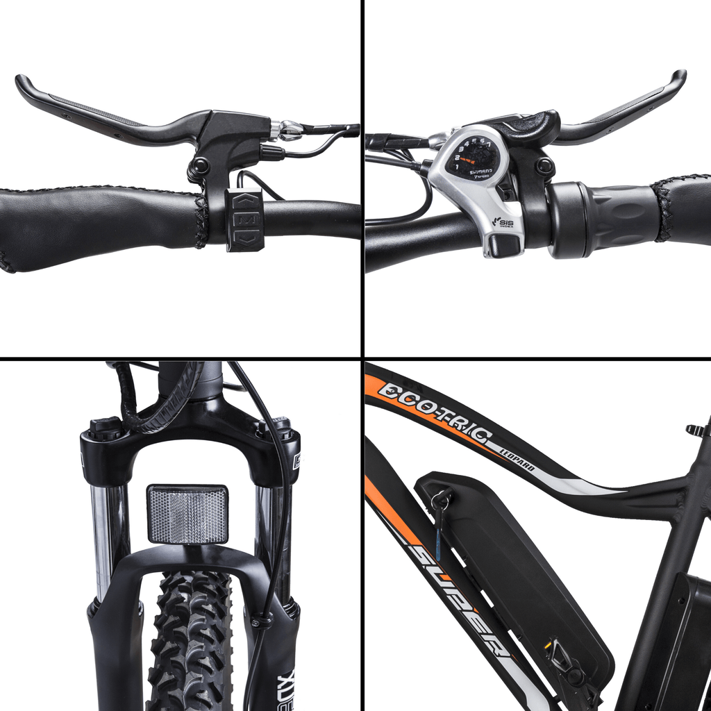 ECOTRIC Leopard Electric Mountain Bike mosaic picture, battery, handle bars, brakes , tire and gears close up