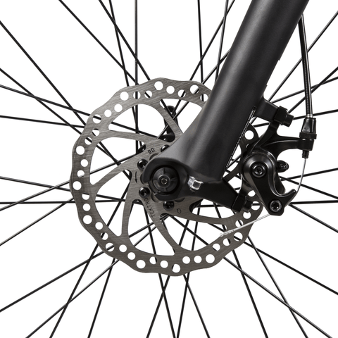 Image of ECOTRIC Leopard Electric Mountain Bike front disc brakes close up