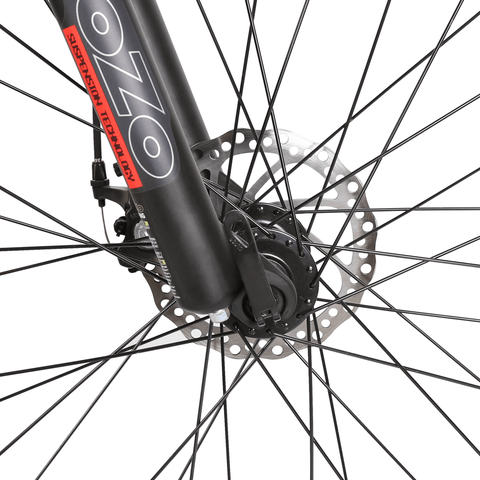 Image of ECOTRIC Rocket Fat Tire Electric Bike front brakes close up
