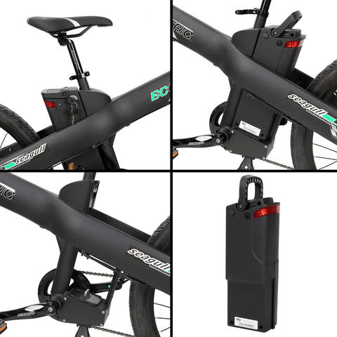 Image of ECOTRIC Seagull Electric Mountain Bike battery and frame close up