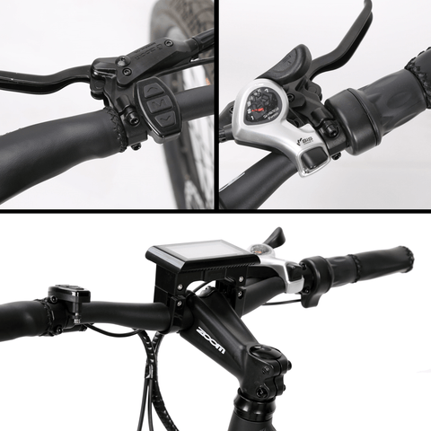 Image of ECOTRIC Seagull Electric Mountain Bike handle bars and brakes close up