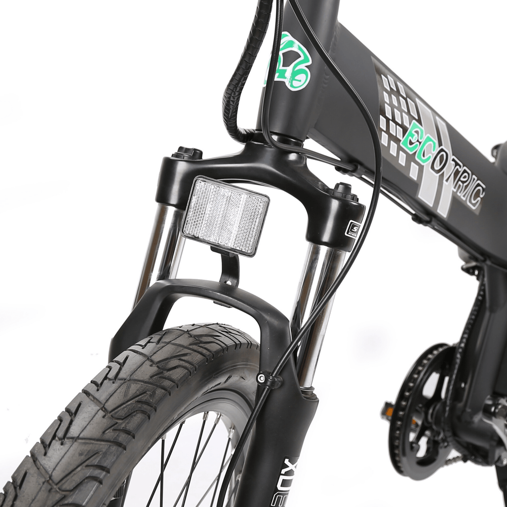 ECOTRIC Seagull Electric Mountain Bike front suspension close up