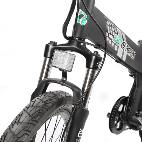 Image of ECOTRIC Seagull Electric Mountain Bike front suspension close up