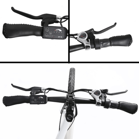 ECOTRIC Vortex Commuter Electric Bike handle bars close up