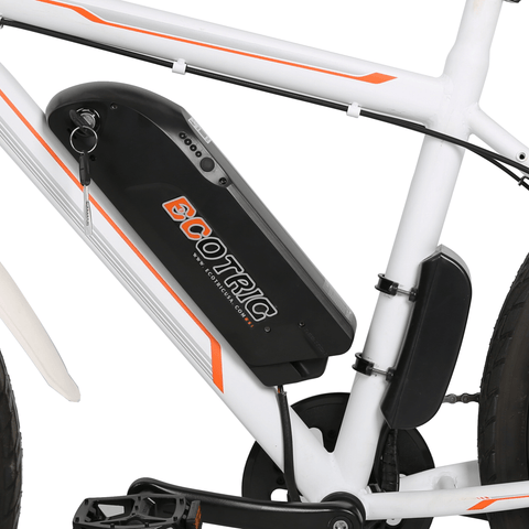 ECOTRIC Vortex Commuter Electric Bike battery center console close up
