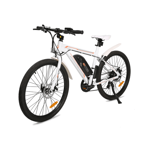 ECOTRIC Vortex Commuter Electric Bike white frat angle view