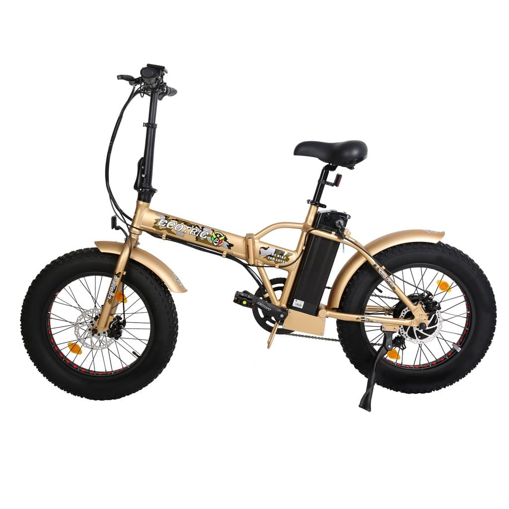 ECOTRIC 48V fat tire foldable electric bike Gold