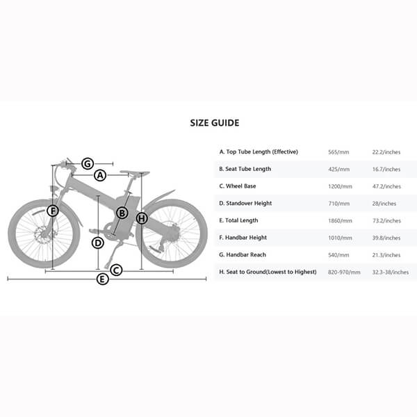 ECOTRIC Seagull Electric Mountain Bike Size Guide