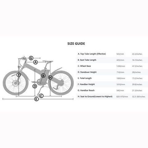 Image of ECOTRIC Seagull Electric Mountain Bike Size Guide