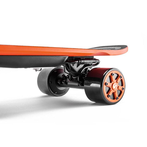 Image of Enskate Woboard Electric Skateboard Orange Back Trucks