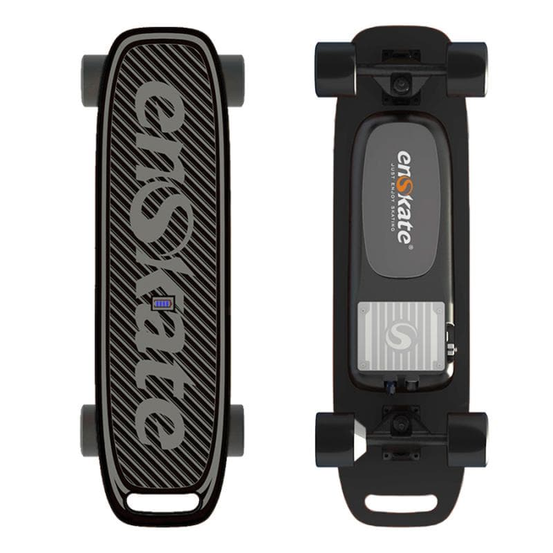 Enskate Woboard Mini Electric Skateboard Black Front and Back