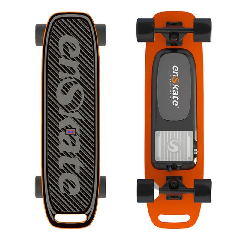 Enskate Woboard Mini Electric Skateboard Orange Front and Back