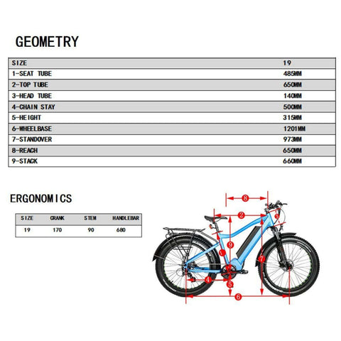 Eunorau 1000W FAT-HD Electric Bike dimensions