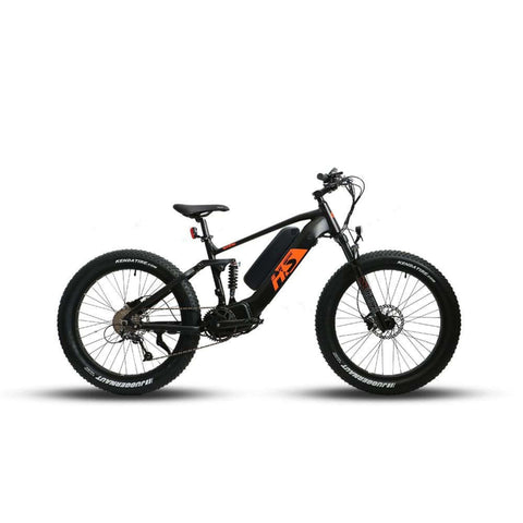 Image of Eunorau 1000W FAT-HS Full Suspension Electric Bike side view orange