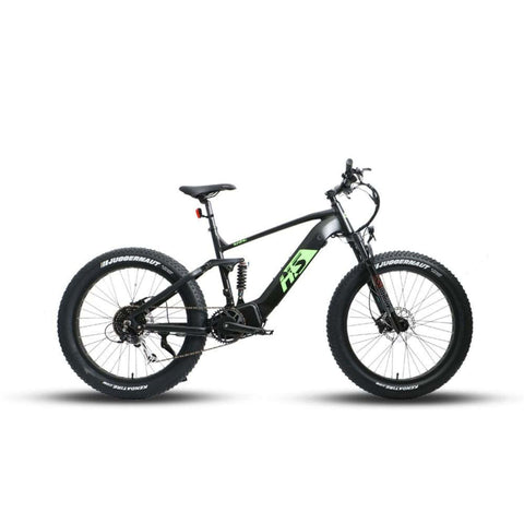 Image of Eunorau 1000W FAT-HS Full Suspension Electric Bike side view green