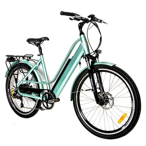 Image of Eunorau E-Torque Step Through Electric Bike green angled