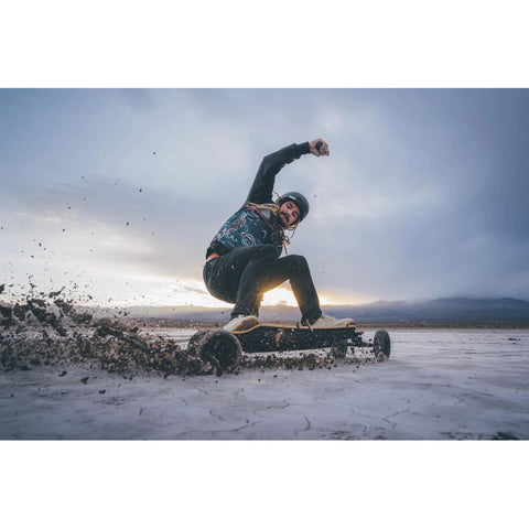 Image of Evolve Bamboo GTR Electric Skateboard action shot