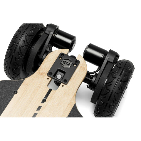 Evolve Bamboo GTR 2 in 1 Electric Skateboard AT wheels close up
