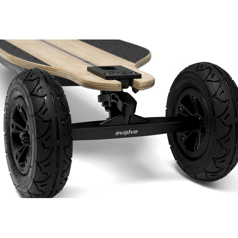Evolve Bamboo GTR 2 in 1 Electric Skateboard AT wheel close up front angle
