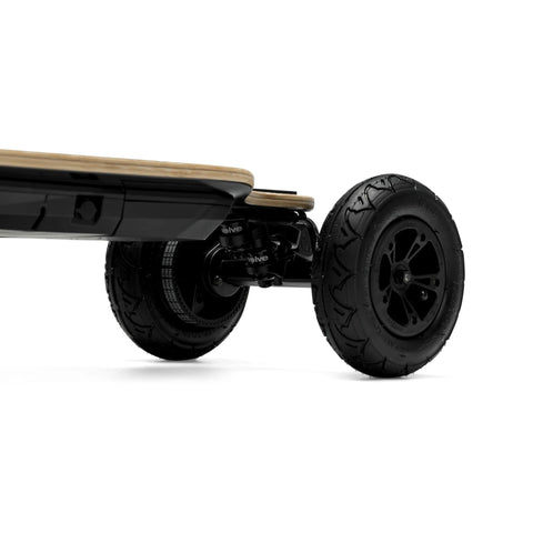 Evolve Bamboo GTR Electric Skateboard front wheel close up