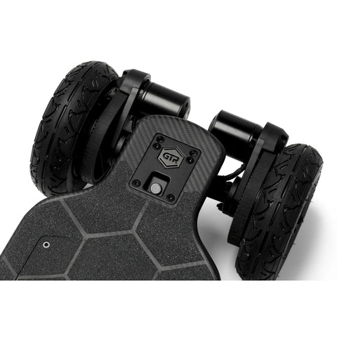 Image of Evolve Carbon GTR Street Electric Skateboard AT wheels top view