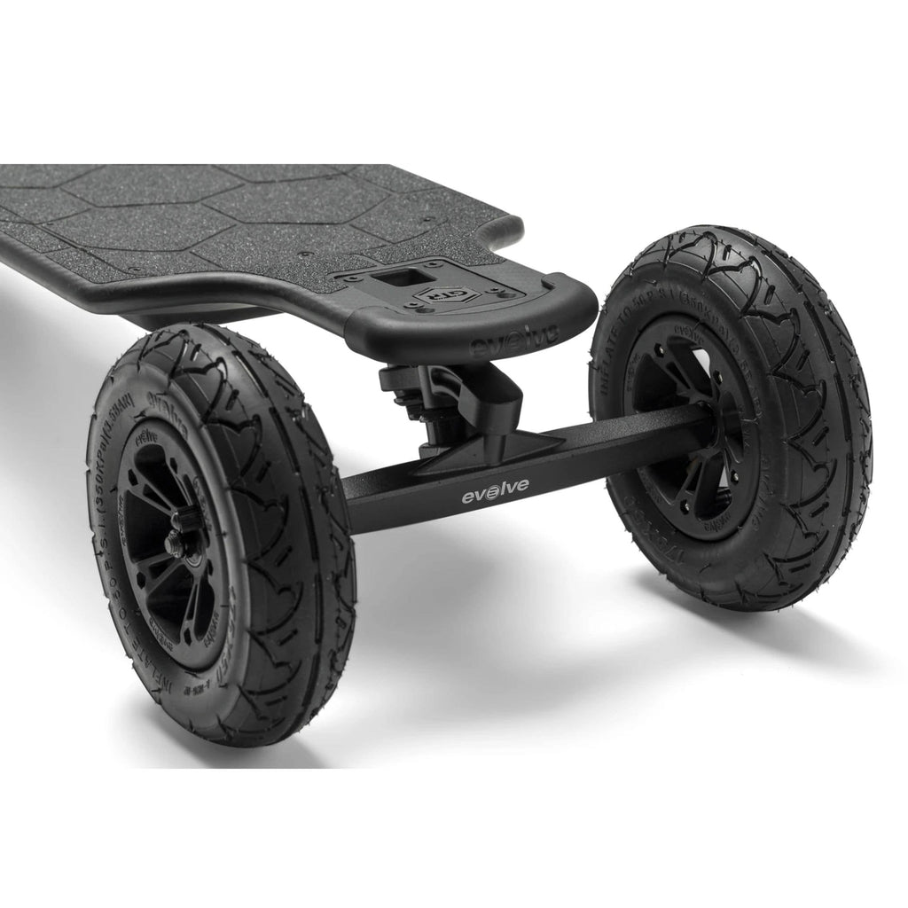 Evolve Carbon GTR Street Electric Skateboard AT wheels close up