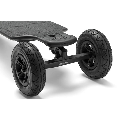 Image of Evolve Carbon GTR Street Electric Skateboard AT wheels close up