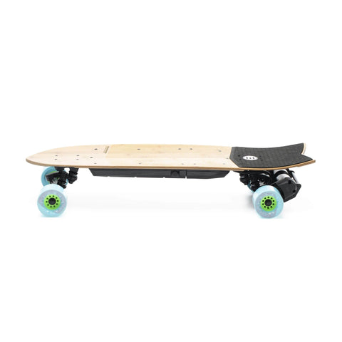 Evolve Stoke Electric Skateboard blue side angle
