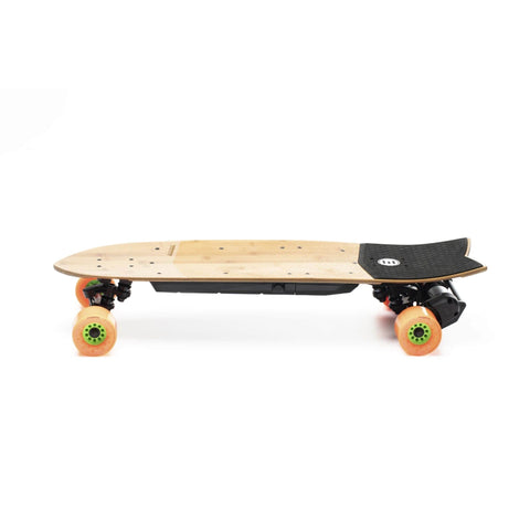 Evolve Stoke Electric Skateboard orange side angle