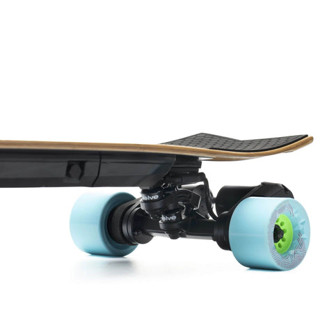 Evolve Stoke Electric Skateboard wheels close up