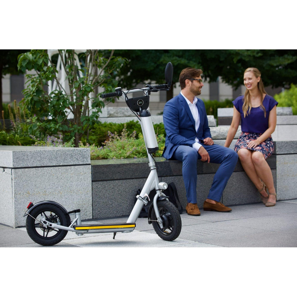 Glion Balto Electric Scooter with couple on bench