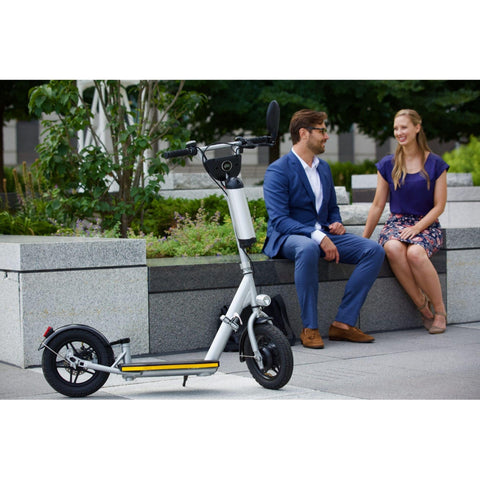 Image of Glion Balto Electric Scooter with couple on bench