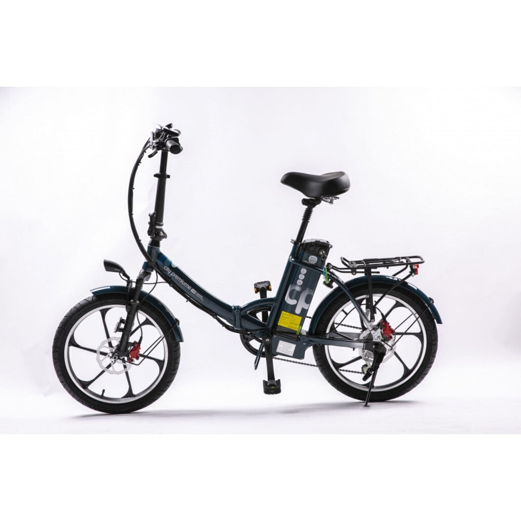 GreenBike City Premium Electric Bike Blue Side View