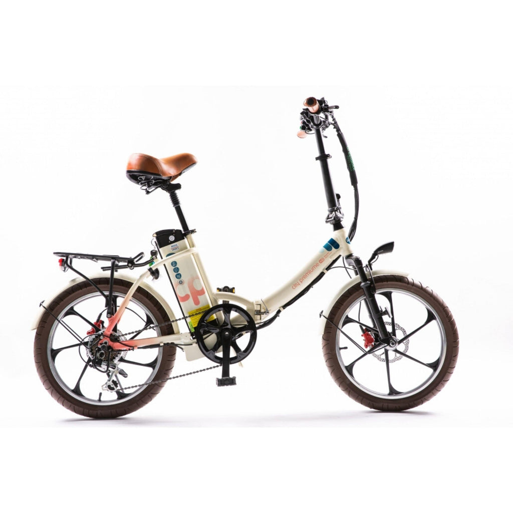 GreenBike City Premium Electric Bike Cream Side View