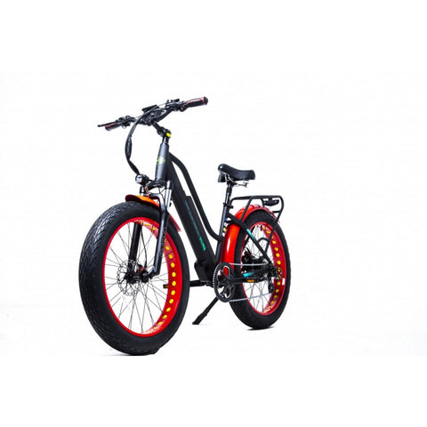 Image of GreenBike EM26 Electric Bike Red/Black Side View