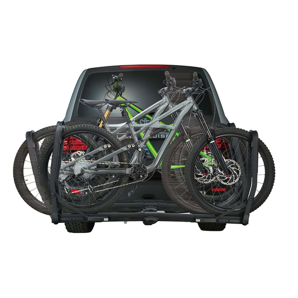 INNO Tire Hold 2 Hitch Bike Rack rear view on car