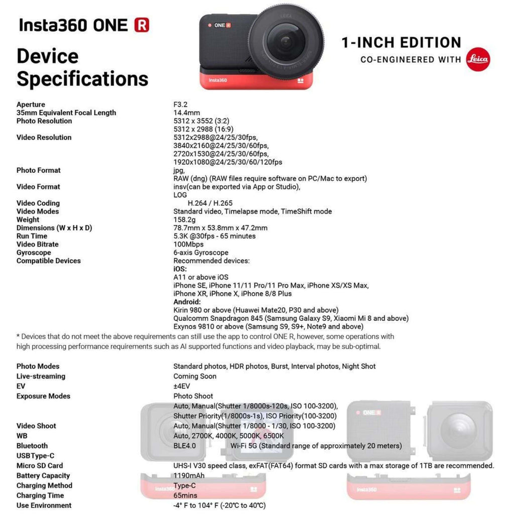 Insta360 One R 1 inch edition specs