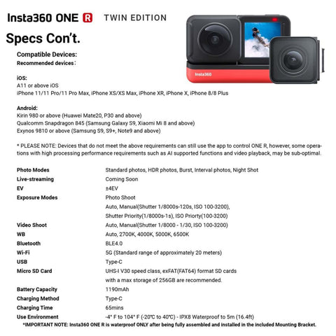 Insta360 One R Twin Edition specs con't graphic