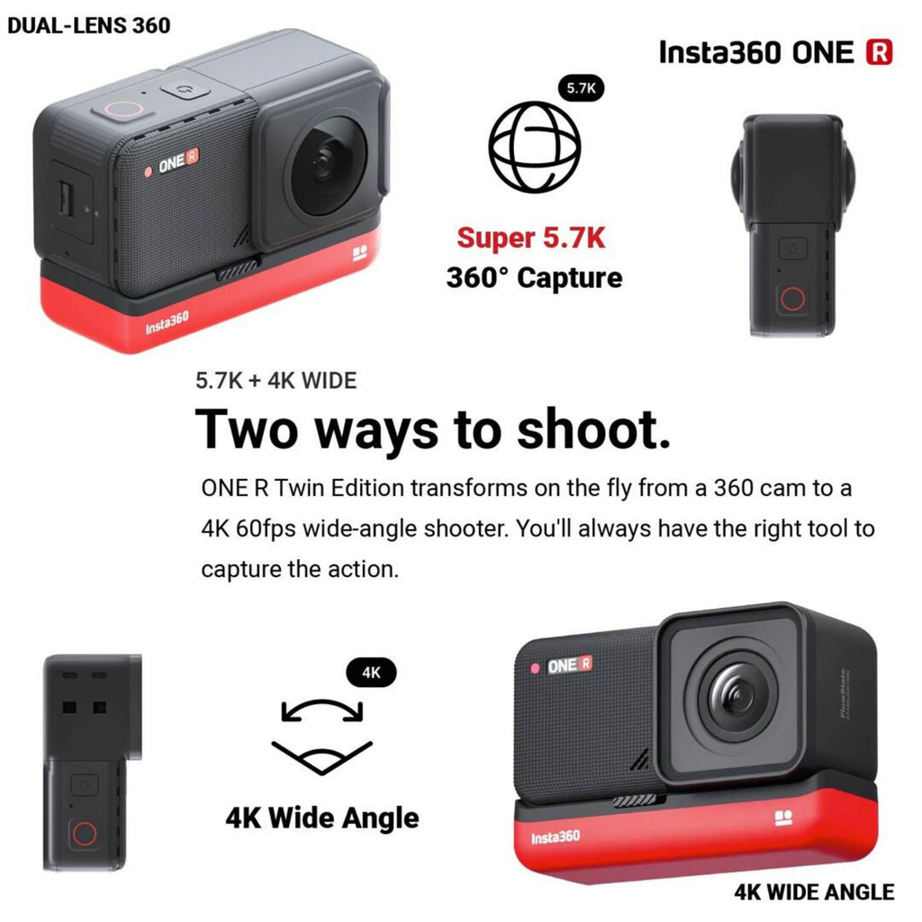 Insta360 One R Twin Edition two ways to shoot graphic