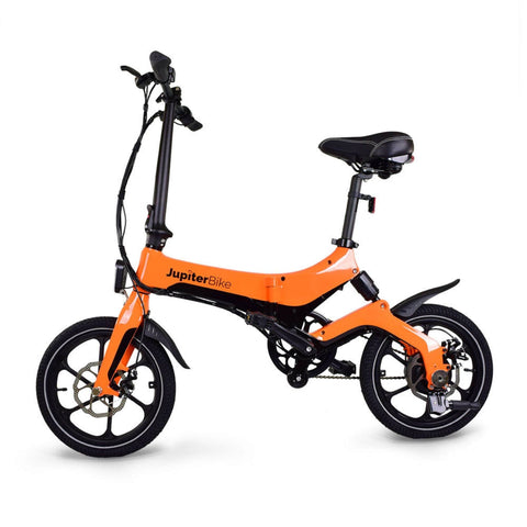 Image of Jupiter Discovery X5 Foldable Electric Bike orange side view
