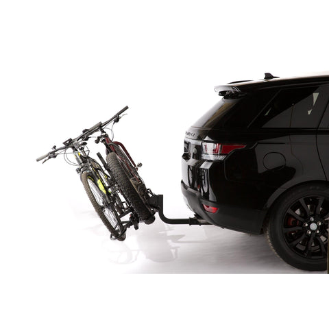 Image of KAC K2 Overdrive Sport Hitch Mounted Bike Rack tilted with bikes