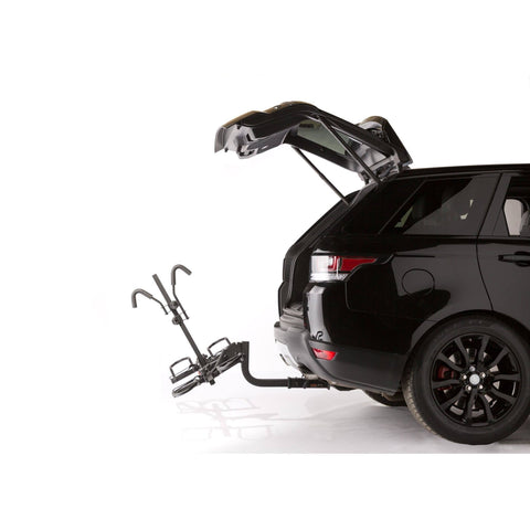 Image of KAC K2 Overdrive Sport Hitch Mounted Bike Rack trunk open and rack tilted no bikes