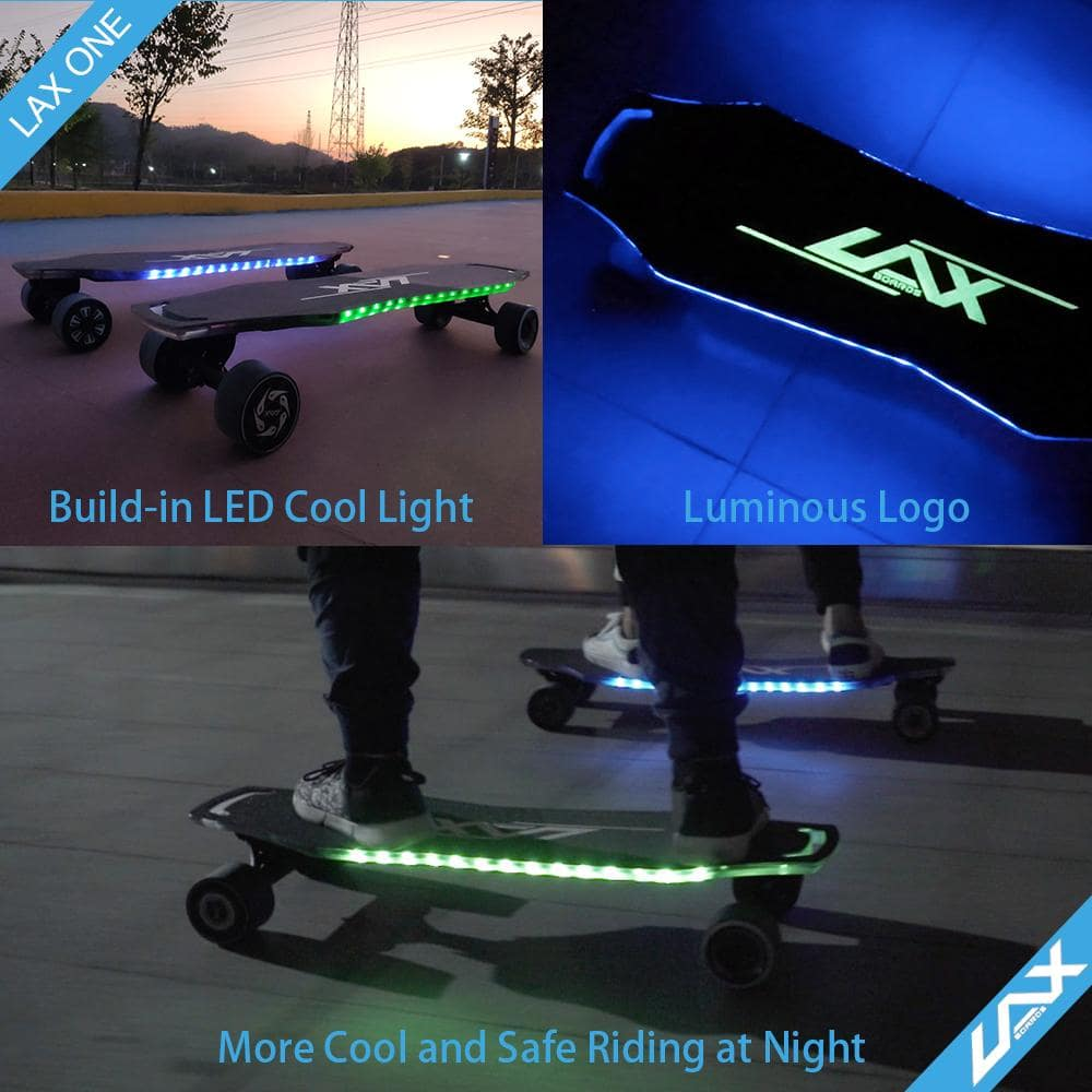 Laxboard LAX One electric Skateboard neon lights