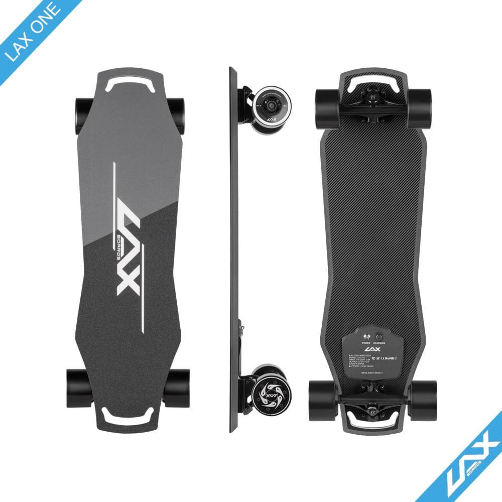 Laxboard LAX One electric Skateboard side top and bottom deck view