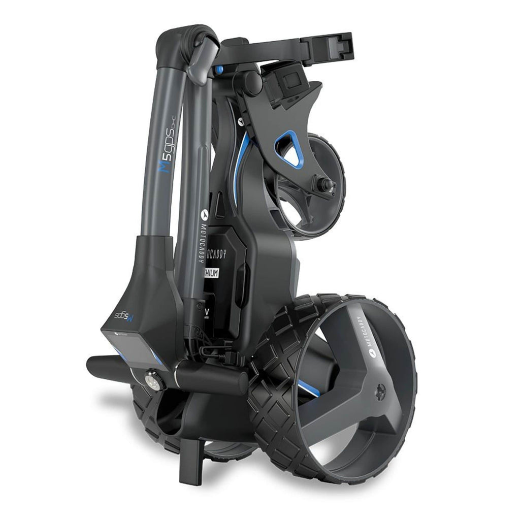 Motocaddy M5 GPS DHS Electric Golf Caddy folded stood up