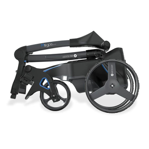 Image of Motocaddy M5 GPS DHS Electric Golf Caddy folded side view
